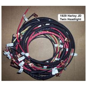 1929 harley jd twin headlight cotton braided wire harness