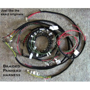 1948 el panhead springer front end wiring harness 1948 harley el panhead cotton braided springer front end wiring