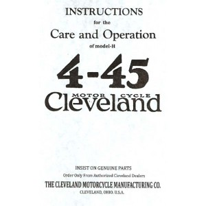 Cleveland 4-45 instructions care and operation