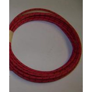16 gauge Red w Black Tracer cotton braided wire