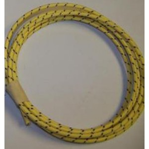 16 gauge Yellow with Black tracer cotton braided wire